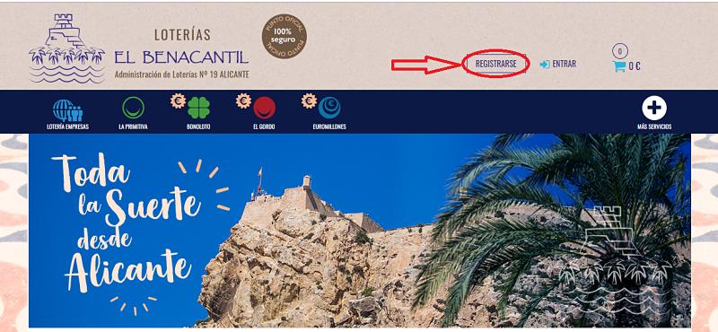 Registrate en Loterías El Benacantil y que la Suerte te acompañe!