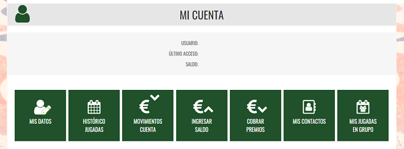 Todas las opciones que tienes en tu cuenta en Loterías El Benacantil